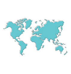 world map with simple modern cartoon line art vector image