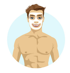young handsome man with cream on his face vector image
