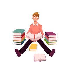 Young man reading books sitting on the floor vector