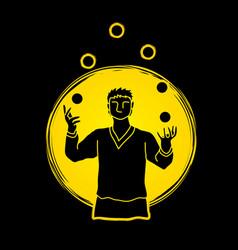 a man juggling balls while cycling graphic vector image vector image