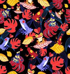 bright seamless pattern with lovers of frogs vector image vector image
