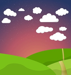 Cartoon Retro Night Sky With Field Clouds and vector image vector image