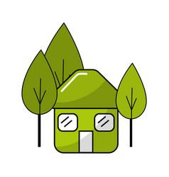 Green house with door roof and windows between of vector