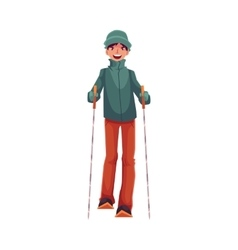 Teen-aged Caucasian boy with ski and poles vector image