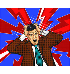 businessman in panic hold on to head emotions vector image vector image