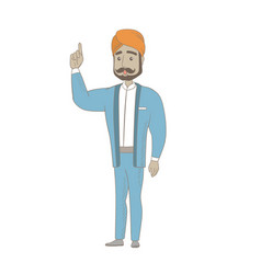Businessman with open mouth pointing finger up vector