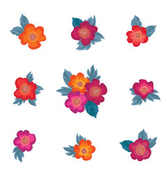 flower bouquet floral frame greeting card set vector image vector image