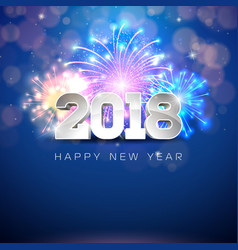 happy new year 2018 with firework and vector image