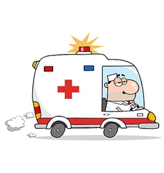 Male Doctor Driving Ambulance vector image