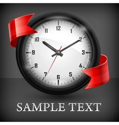 Round clock with ribbon on vector image vector image