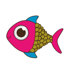 silhouette color fish with big eye vector image vector image