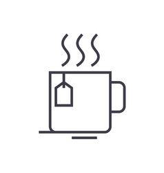 tea cup line icon sign on vector image