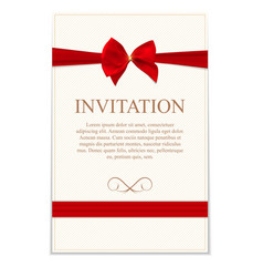 Vintage Wedding Invitation with Bow and Ribbon vector image