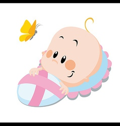 baby with butterfly vector image vector image