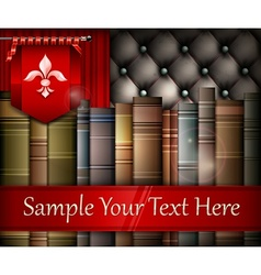Book stack and heraldry lily vector image