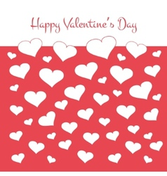 Simple valentines card with white hearts on red vector image vector image