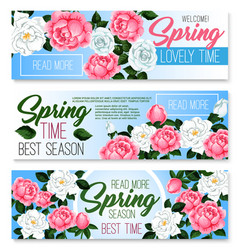 banners of spring time roses bunches vector image vector image