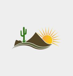 cactus desert western logo vector image vector image