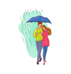cartoon couple walking under rain umbrella vector image