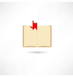 open boook with hand and bookmark vector image vector image