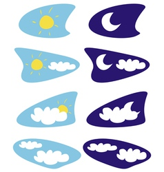 Sun and moon isolated weather icons clip art vector image