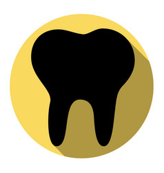 tooth sign flat black icon vector image