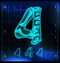 4 number four roentgen x-ray font light vector