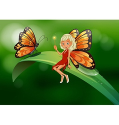A fairy and a butterfly at the top of a long leaf vector