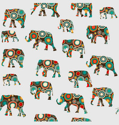 Abstract colorful pattern with elephants vector
