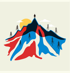 abstract with mountain landscape man silhouette vector image
