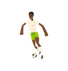 african american soccer player kicking the ball vector image