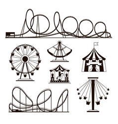 Amusement park roller coasters and carousel vector