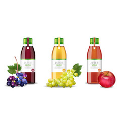 apple and grapes juices set realistic vector image