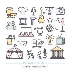 arts and entertainment icon set collection vector image