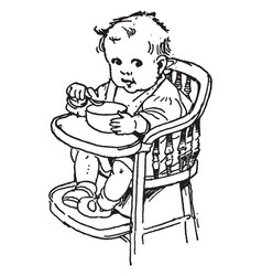 Baby eating out of a bowl on his high chair vector