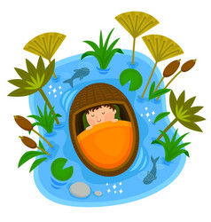 Baby moses in the ark vector