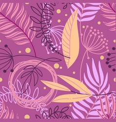 beautiful hand drawn plants seamless pattern vector image