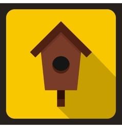 Birdhouse or nesting box icon flat style vector