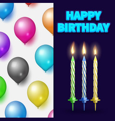 Birthday party banner or card with cake candles vector