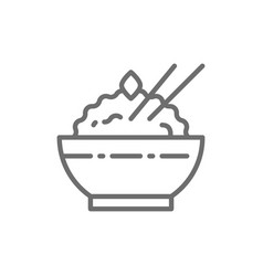 bowl cooked rice line icon vector image