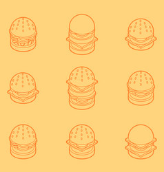 Burgers color outline isometric icons vector