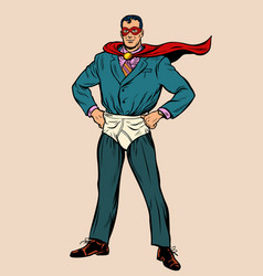 Businessman superhero in mask and shorts vector