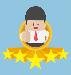 Businessman thumbs up with five star rating vector