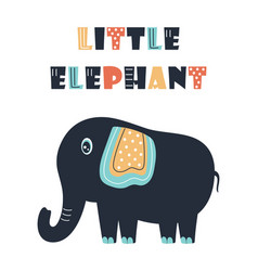 card with cute elephant isolated on white vector image