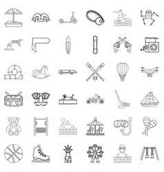 carousel icons set outline style vector image
