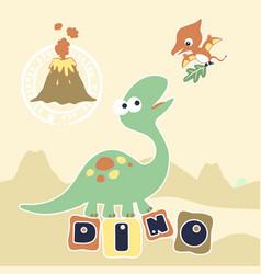 Cartoon dinosaurs brontosaurus with pterodactyl vector