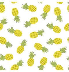 Cartoon pineapples hand draw childish seamless vector