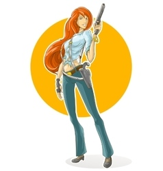 Cartoon pretty detective girl with gun vector