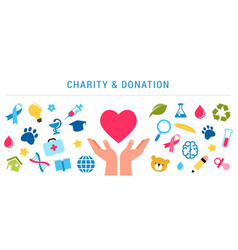 Charity giving and donation poster template vector