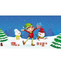 Christmas Elf and Snowman vector